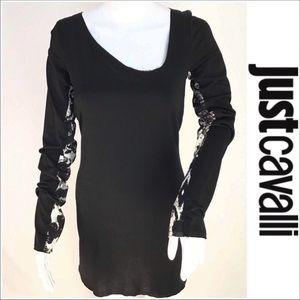 Just Cavalli Black Long Graphic Sleeve Dress EUC!